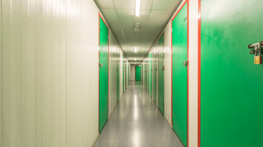 tameside storage centre corridor with locked doors